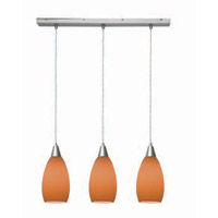 Access Lighting Inari Silk 3 Light Maxi Pendant in Brushed Steel 52312-BS/ORG photo thumbnail