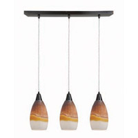 Access Lighting Inari Silk 3 Light Maxi Pendant in Oil Rubbed Bronze 52312-ORB/TRA photo thumbnail