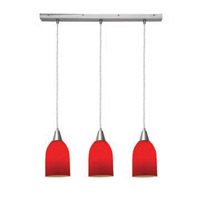Access Lighting Inari Silk 3 Light Maxi Pendant in Brushed Steel 52318-BS/RED photo thumbnail