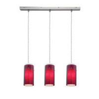 Access Lighting Glass in Glass 3 Light Maxi Pendant in Brushed Steel 52333-BS/PLOP photo thumbnail