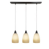 Access Lighting Inari Silk 3 Light Maxi Pendant in Oil Rubbed Bronze 52359-ORB/FRA photo thumbnail