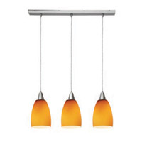 Access Lighting Inari Silk 3 Light Maxi Pendant in Brushed Steel 52369-BS/AMB photo thumbnail