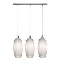 Access Lighting Fleur 3 Light Maxi Pendant in Brushed Steel 52376-BS/OPL photo thumbnail
