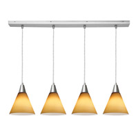 Access Lighting Inari Silk 4 Light Maxi Pendant in Brushed Steel 52404-BS/AMB photo thumbnail