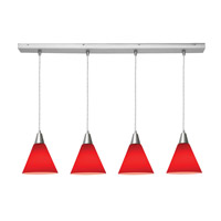 Access Lighting Inari Silk 4 Light Maxi Pendant in Brushed Steel 52404-BS/RED photo thumbnail