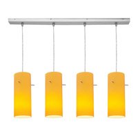 Access Lighting Inari Silk 4 Light Maxi Pendant in Brushed Steel 52430-BS/AMB photo thumbnail