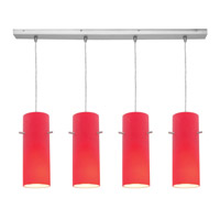 Access Lighting Inari Silk 4 Light Maxi Pendant in Brushed Steel 52430-BS/RED photo thumbnail