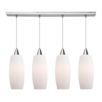 Access Lighting Pearl 4 Light Maxi Pendant in Brushed Steel 52470-BS/WHT photo thumbnail