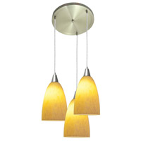 Access Lighting Rain 3 Light Rain Glass Disc Pendant in Brushed Steel 52503-BS/AMM photo thumbnail