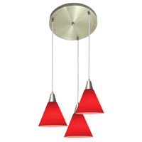 Access Lighting Inari Silk 3 Light Maxi Pendant in Brushed Steel 52504-BS/RED photo thumbnail