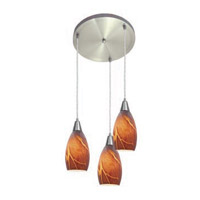 Access Lighting Inari Silk 3 Light Maxi Pendant in Brushed Steel 52512-BS/ICA photo thumbnail