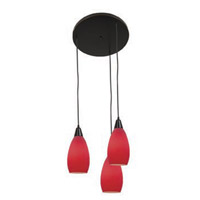 Access Lighting Inari Silk 3 Light Maxi Pendant in Oil Rubbed Bronze 52512-ORB/RED photo thumbnail