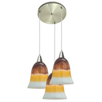 Access Lighting Cosmopolitan Manhattan 3 Light Bell Glass Disc Pendant in Brushed Steel 52514-BS/TRA photo thumbnail