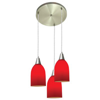 Access Lighting Inari Silk 3 Light Maxi Pendant in Brushed Steel 52518-BS/RED photo thumbnail