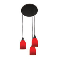 Access Lighting Inari Silk 3 Light Maxi Pendant in Oil Rubbed Bronze 52518-ORB/RED photo thumbnail
