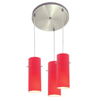 Access Lighting Inari Silk 3 Light Maxi Pendant in Brushed Steel 52530-BS/RED photo thumbnail