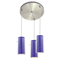 Access Lighting Glass in Glass 3 Light Maxi Pendant in Brushed Steel 52533-BS/CLCB photo thumbnail