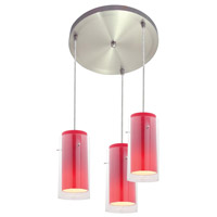 Access Lighting Glass in Glass 3 Light Maxi Pendant in Brushed Steel 52533-BS/CLRD photo thumbnail