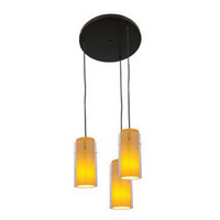 Access Lighting Glass in Glass 3 Light Maxi Pendant in Oil Rubbed Bronze 52533-ORB/CLAM photo thumbnail