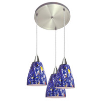 Access Lighting Fire 3 Light Fire Glass Disc Pendant in Brushed Steel 52544-BS/BLU photo thumbnail