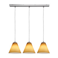 Access Lighting Inari Silk 3 Light Maxi Pendant in Brushed Steel 52604-BS/AMB photo thumbnail
