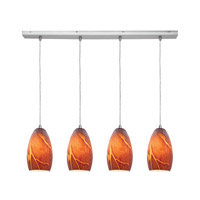 Access Lighting Inari Silk 4 Light Maxi Pendant in Brushed Steel 52712-BS/ICA photo thumbnail