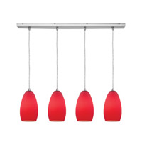 Access Lighting Inari Silk 4 Light Maxi Pendant in Brushed Steel 52712-BS/RED photo thumbnail