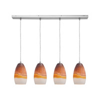 Access Lighting Inari Silk 4 Light Maxi Pendant in Brushed Steel 52712-BS/TRA photo thumbnail