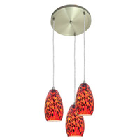 Access Lighting Inari Silk 3 Light Maxi Pendant in Brushed Steel 52812-BS/CRN photo thumbnail