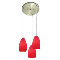 Access Lighting Inari Silk 3 Light Maxi Pendant in Brushed Steel 52812-BS/RED photo thumbnail