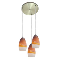 Access Lighting Inari Silk 3 Light Maxi Pendant in Brushed Steel 52812-BS/TRA photo thumbnail