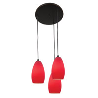 Access Lighting Inari Silk 3 Light Maxi Pendant in Oil Rubbed Bronze 52812-ORB/RED photo thumbnail