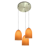 Access Lighting Inari Silk 3 Light Maxi Pendant in Brushed Steel 52818-BS/AMB photo thumbnail