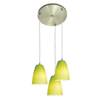 Access Lighting Inari Silk 3 Light Maxi Pendant in Brushed Steel 52822-BS/LGR photo thumbnail