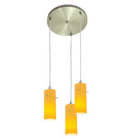 Access Lighting Inari Silk 3 Light Maxi Pendant in Brushed Steel 52830-BS/AMB photo thumbnail