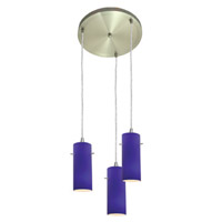 Access Lighting Inari Silk 3 Light Maxi Pendant in Brushed Steel 52830-BS/COB photo thumbnail