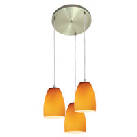 Access Lighting Inari Silk 3 Light Maxi Pendant in Brushed Steel 52869-BS/AMB photo thumbnail