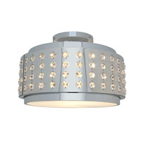 Access Lighting Aura 1 Light Crystal and Chrome Flushmount in Chrome with Crystal Accents Glass 62276-CH/CRY