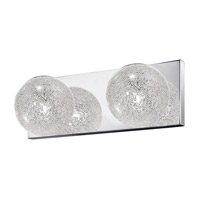 Opulence 2 Light 13 inch Mirrored Stainless Steel Vanity Light Wall Light