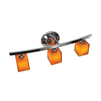Sydney 3 Light 22 inch Chrome Vanity Wall Light in Amber