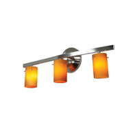 Classical 3 Light 22 inch Chrome Vanity Wall Light in Amber