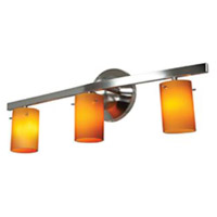 Access 63813-47-MC/AMB Classical 3 Light 22 inch Matte Chrome Vanity Wall Light in Amber
