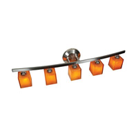 Sydney 5 Light 32 inch Matte Chrome Vanity Wall Light in Amber