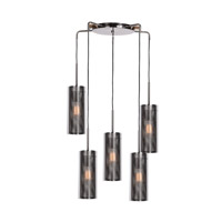 Multis 5 Light 23 inch Black Chrome Pendant Ceiling Light