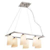 Access Lighting Thea 6 Light Chandelier in Brushed Steel 64046-BS/OPL photo thumbnail
