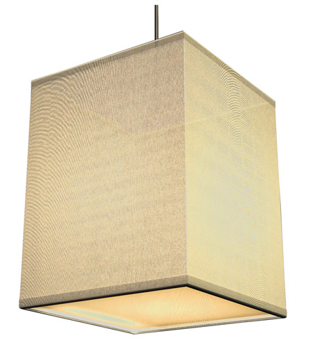 AFX Lighting Baker 1 Light Pendant in Satin Nickel with Cream Fabric Shade BKP118SNSCT-CR photo
