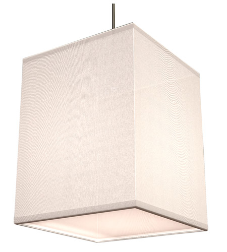 AFX Lighting Baker 1 Light Pendant in Satin Nickel with White Fabric Shade BKP118SNSCT-WH photo