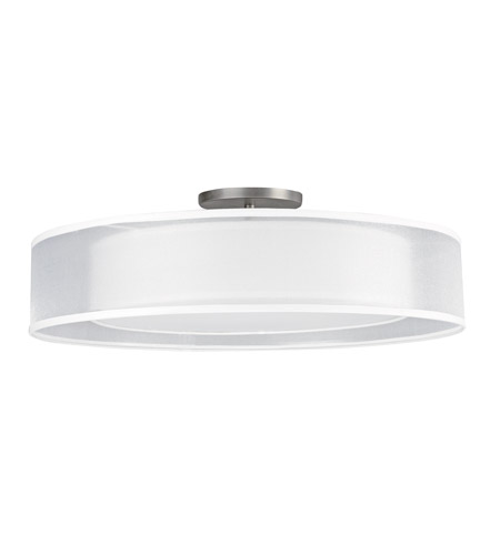 AFX CZF326QSNMV-WHWH Cortez 3 Light 24 inch Satin Nickel Flush Mount Ceiling Light in White/White, CFQ 4-Pin, 78 photo