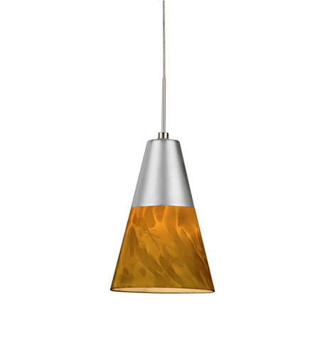 AFX LAPL45027AMSND1 Laveer LED 5 inch Satin Nickel Mini Pendant Ceiling Light in Amber, 120, 2700K photo