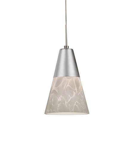AFX LAPL45027WHSND1 Laveer LED 5 inch Satin Nickel Mini Pendant Ceiling Light in White, 120, 2700K photo